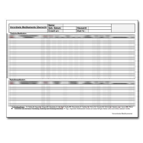 Download: Medikamentenplan für die Pflegedokumentation