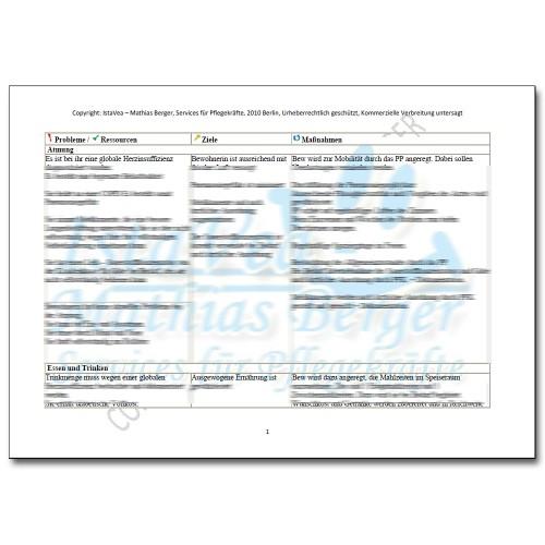 Download Pflegeplanung Demenz, Sehschwäche, Halluzination, COPD