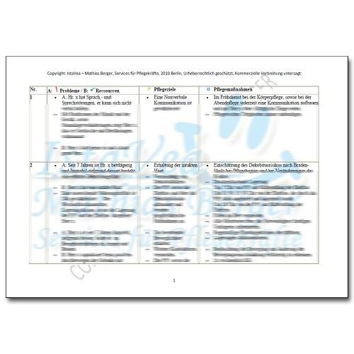 Pflegeplanung Sprechstörungen, Dekubitusgefahr, Bettlägerig, AED